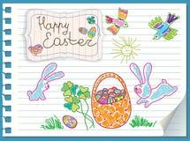 Кролики пасхи корзина яичек. Карточка вектора Стоковая Фотография RF