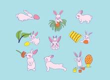 кролики прячут яйца Установите милых счастливых персонажей из мультфильма пасхи бесплатная иллюстрация