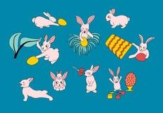 кролики прячут яйца Установите милых счастливых персонажей из мультфильма пасхи иллюстрация штока