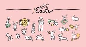 кролики прячут яйца Установите милых счастливых персонажей из мультфильма пасхи Зайчики, пасхальные яйца, цветки, листья, ведро иллюстрация вектора