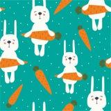 Кролики с морковами, красочной безшовной картиной бесплатная иллюстрация