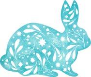 Кролик акварели голубой сидя с белым орнаментом изолированным на белой предпосылке стоковые изображения