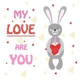 Кролик валентинки, зайчик с коробкой сердца шоколадов Стоковое Изображение