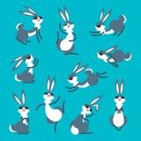 Кролик или зайцы шаржа милый Маленькие смешные кролики Vector иллюстрация собранная и наслоенная для легкий редактировать Стоковые Фото