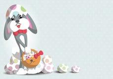 Кролик и красочное яичко в шарже фестиваля пасхи - вектор иллюстрация штока