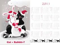 кролик кота 2011 календара Стоковое Фото