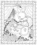 Кролик матери кладя младенца для того чтобы спать Стоковое Изображение RF