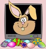 Кролик пасхи компьютера с украшенными яичками иллюстрация вектора