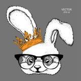 Кролик портрета изображения притяжки руки в кроне Дизайн африканских/индейца/тотема/татуировки Польза для печати, плакатов, футбо Стоковое Изображение RF