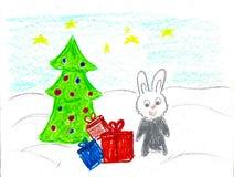 Кролик серого цвета принимая настоящие моменты и рождественскую елку, чертеж ребенка иллюстрация вектора