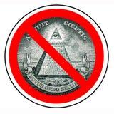 Кроме правительства мира Конец нового международного порядка Запрещенное Illuminati Каменщик запрета Одна изолированная пирамида  иллюстрация вектора