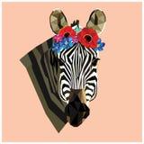 Крона зебры головная низкая поли флористическая Стоковые Изображения RF
