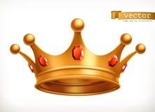 Крона золота значка вектора короля иллюстрация вектора