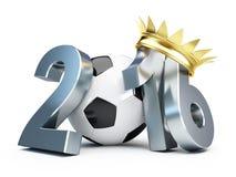 Крона 2016 золота футбольного мяча иллюстрация вектора