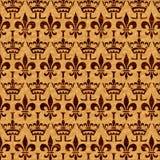 Крона инкрустации облицовки и Fleur-de-Lis Стоковое Изображение RF