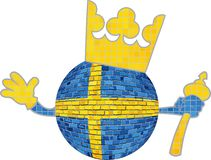 Крона с флагом королевства Швеции Стоковое Фото