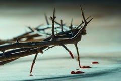 Крона терниев с падениями крови стоковое изображение rf