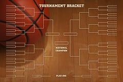 Кронштейн турнира баскетбола с освещением пятна на деревянном flo спортзала Стоковые Изображения