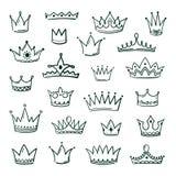 Кроны Doodle Искусство чернил grunge coronet короля ферзя кроны эскиза городское увенчивая тиару винтажных корональных значков ве иллюстрация вектора