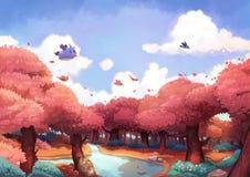 Крошечное летание птицы над красивым лесом в утре иллюстрация вектора