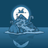 Крошечный остров на ноче Стоковое Изображение RF