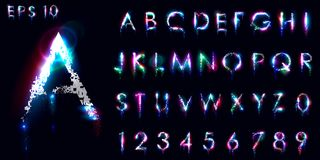 Крошить и светящий шрифт, английские письма и номера иллюстрация штока