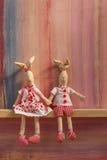 Кролики в дне валентинок приглашения свадьбы влюбленности Стоковые Фотографии RF