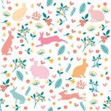 Кролики в сердцах и цветках Стоковое фото RF