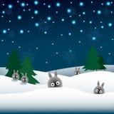Кролики в снеге, рождественские елки Стоковое Фото