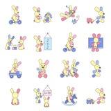 Кролики играя с игрушками Стоковая Фотография RF