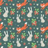 Кролики и лиса с безшовной картиной Стоковые Фото