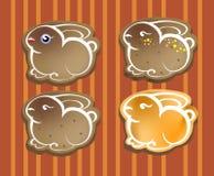 Кролики пасхи - печенья, значки Стоковое фото RF