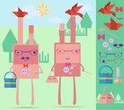 Кролики семьи розовые Стоковые Фото