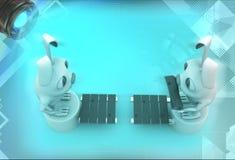 кролики 3d стоя на другом конце иллюстрации моста Стоковые Изображения RF