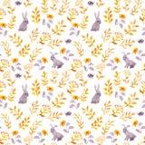 Кролики, ladybugs, листья осени Повторять милую ditsy картину акварель бесплатная иллюстрация