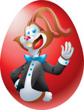 Кролик Брайна на красном яичке Стоковые Изображения RF