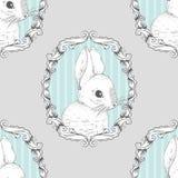 Кролик в рамке Безшовная предпосылка чертеж вручает ее нижнее белье утра вверх по теплым детенышам женщины также вектор иллюстрац Стоковое фото RF