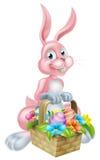Кролик зайчика с корзиной пасхи иллюстрация вектора