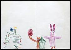 Кролик и медведь рядом с рождественской елкой чертеж s ребенка иллюстрация вектора