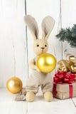 Кролик и подарочные коробки игрушки Стоковые Изображения