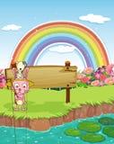Кролик и радуга Стоковые Изображения RF