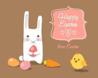 Кролик и цыпленок пасхи с пасхальными яйцами Бесплатная Иллюстрация