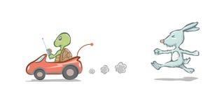 Кролик и черепаха Стоковое Изображение RF