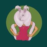 Кролик нося сексуальное платье Стоковые Фотографии RF