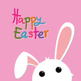 Кролик пасхи на розовом и красочном тексте Стоковое фото RF