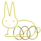 Кролик пасхи с пасхальными яйцами, 3d Стоковая Фотография RF