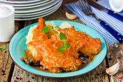 Кролик потушил в томатном соусе с чесноком и оливкой моркови Стоковое фото RF