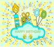 кролик подарка поздравительой открытки ко дню рождения Стоковые Изображения RF