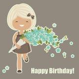 кролик подарка поздравительой открытки ко дню рождения Стоковое Изображение RF