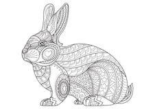 Кролик страницы расцветки Нарисованный рукой винтажный вектор зайчика doodle Стоковая Фотография